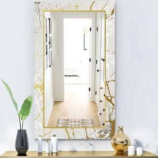 Designart 'Marbled Marvelous 3' Glam Mirror - Vanity Mirror - Gold