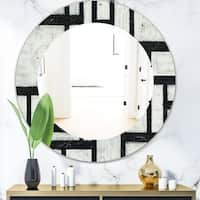 Designart 'Black and White Labyrinth Geometric' Mid-Century Mirror - Frameless Oval or Round Wall Mirror - Black