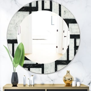 Porch & Den 'Black and White Labyrinth Geometric' Mid-Century Mirror