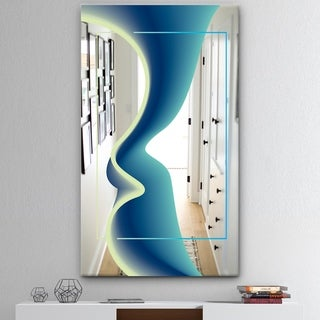 Designart 'Nebulous Waves 8' Mid-Century Mirror - Wall Mirror - Blue