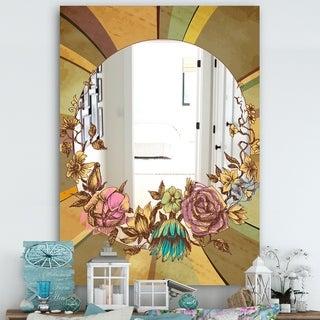 Designart 'Vintage Flower Garland' Cabin and Lodge Mirror - Decorative Mirror - Multi