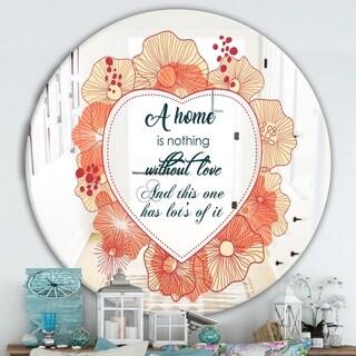 Designart 'A Home Of Love. Flower Heart' Cabin & Lodge Mirror - Round Wall Mirror - Multi