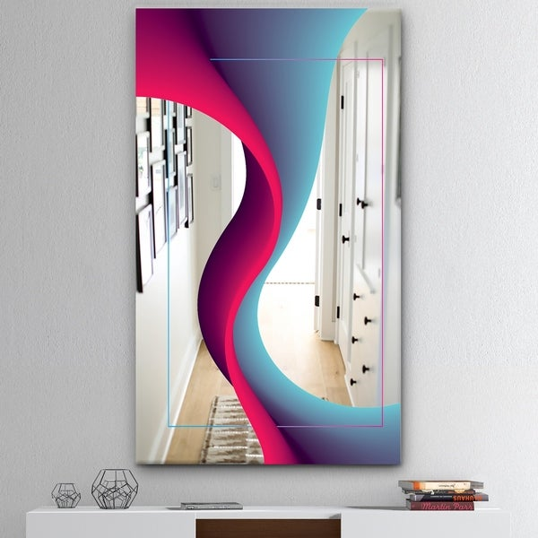 Designart 'Nebulous Waves 4' Mid-Century Mirror - Large Wall Mirror - Blue
