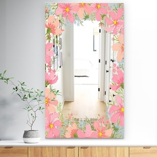 Designart 'Garland Vivid 10' Traditional Mirror - Wall Mirror - Pink