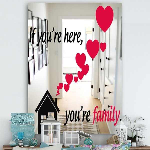 Designart 'If You Are Here You Are Family' Cabin and Lodge Mirror - Large Wall Mirror - Multi