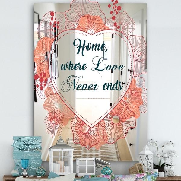 Designart 'Home Where Lover Never Ends V' Cabin and Lodge Mirror - Wall Mirror - Multi