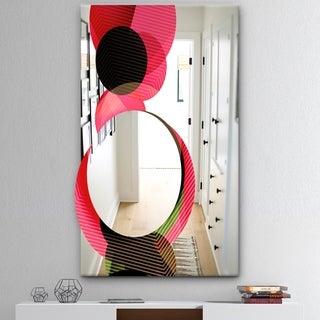 Designart 'Circular Lacuna 13' Mid-Century Mirror - Modern Print on Mirror - Pink