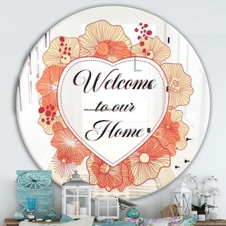 Designart 'Welcome To Our Home. Pink Flower Heart II' Cabin and Lodge Mirror - Round Wall Mirror - Multi