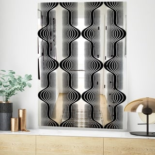Designart Capital Gold Lively 7 Mid-Century Mirror - Decorative Mirror - Black (23.6 in. wide x 35.4 in. high)