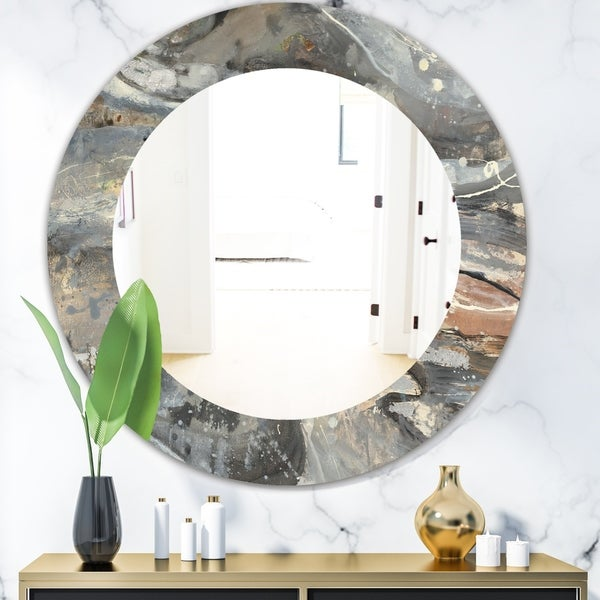 Designart 'Fire and Ice Minerals VI' Modern Mirror - Frameless Oval or Round Wall Mirror - Multi
