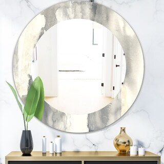 Designart 'Gold Glamour Direction I' Modern Mirror - Frameless Oval or Round Wall Mirror - Grey