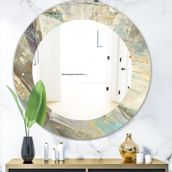 Designart 'Blue Geometric Water' Modern Mirror - Frameless Oval or Round Wall Mirror - Multi
