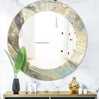 Designart 'Blue Geometric Water' Modern Mirror - Frameless Oval or Round Wall Mirror - Multi