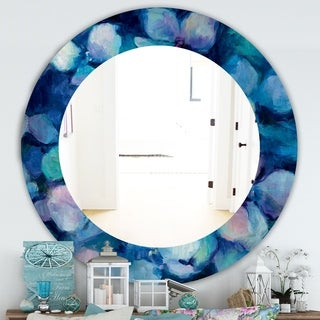 Designart 'Abstract Blue Flower Petals' Farmhouse Mirror - Frameless Oval or Round Wall Mirror
