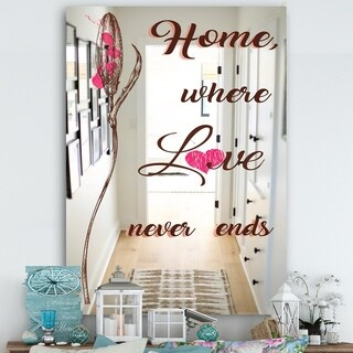 Designart Where Love Never End. Home Love. Multicolor Wall Mirror (29.5 in. wide x 39.4 in. high)