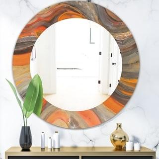 Designart 'Abstract Gilded Orange Waves' Modern Mirror - Frameless Oval or Round Wall Mirror - Gold