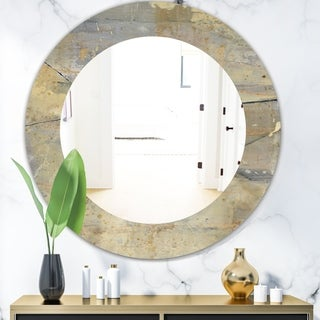 Designart 'Geometric Cream Block I' Modern Mirror - Frameless Oval or Round Wall Mirror