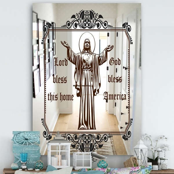 Designart 'Lord Bless America and This Home' Cabin and Lodge Mirror - Large Wall Mirror - Multi