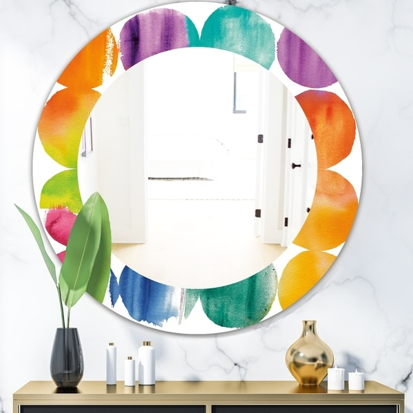 Designart 'Circle Abstract Colorfields' Mid-Century Mirror - Frameless Oval or Round Wall Mirror - Multi