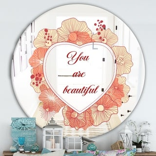 Designart 'You Are Beautiful. Pink Flower Heart' Cabin and Lodge Mirror - Round Wall Mirror - Multi