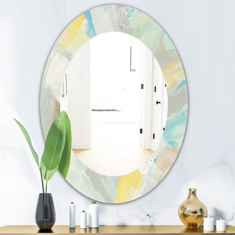 Designart 'Abstract Compositions of Pastel Blue and Green' Modern Mirror - Frameless Oval or Round Wall Mirror