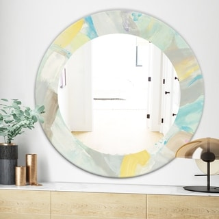 Designart Abstract Compositions Of Pastel Blue and Green Modern Mirror - Frameless Oval or Round Wall Mirror - Multi (31.5 in. wide x 31.5 in. high