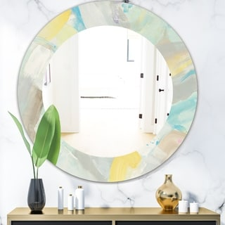 Designart Abstract Compositions Of Pastel Blue And Green Modern Mirror Frameless Oval Or Round Wall Mirror On Sale Overstock 28022395