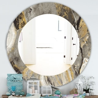 Designart 'Painted Gold Stone' Traditional Mirror - Frameless Oval or Round Wall Mirror