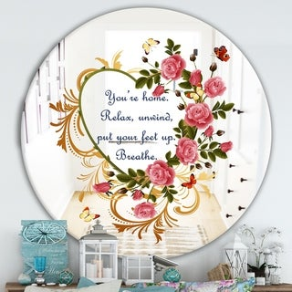 Designart 'You Are Home. Relax. Flower Heart' Cabin and Lodge Mirror - Round Wall Mirror - Multi