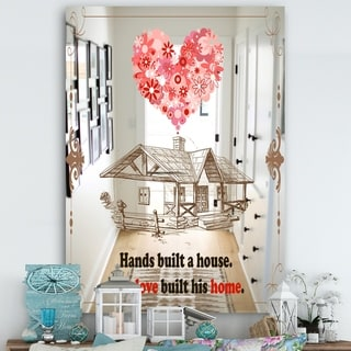 Designart 'Our Love Built This Home. Vintage' Cabin and Lodge Mirror - Decorative Mirror - Multi