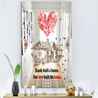 Designart Our Love Built This Home. Vintage Cabin and Lodge Multicolor Decorative Mirror (27.5 in. wide x 47.4 in. high)