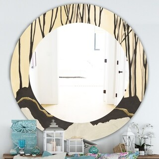 Designart 'Geometric Forest' Farmhouse Mirror - Frameless Oval or Round Wall Mirror - Multi