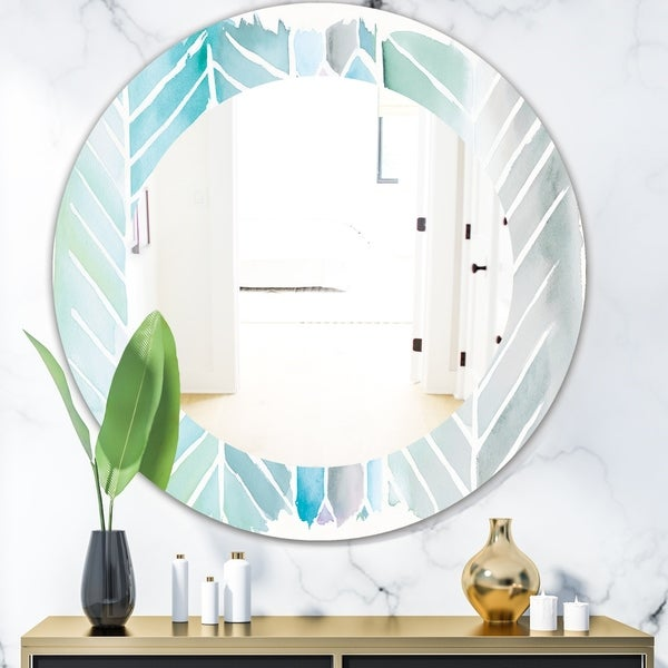 Designart 'Watercolor Geometric Swatch Element IV' Mid-Century Mirror - Frameless Oval or Round Wall Mirror