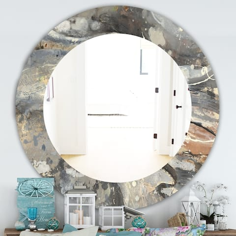 Designart 'Fire and Ice Minerals I' Farmhouse Mirror - Frameless Oval or Round Wall Mirror