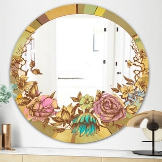 Designart Vintage Flower Wreath Cabin and Lodge Multicolor Round Decorative Mirror (31.5 in. wide x 31.5 in. high - Round)