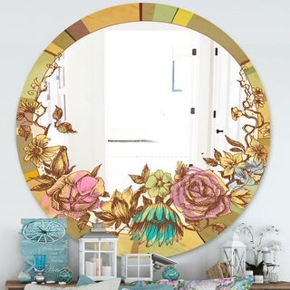 Designart Vintage Flower Wreath Cabin and Lodge Multicolor Round Decorative Mirror (39.4 in. wide x 39.4 in. high - Round)
