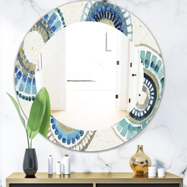 Designart 'Modern Gold Timetable II' Mid-Century Mirror - Frameless Oval or Round Wall Mirror - Blue