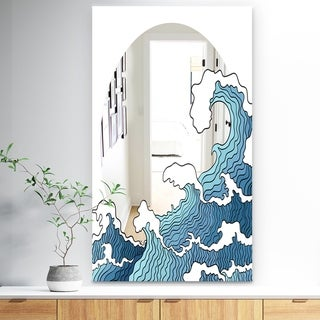 Designart 'Surfs Up Wave' Bohemian and Eclectic Mirror - Wall Mirror - Blue