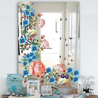 Designart 'Garland Vivid 12' Cabin and Lodge Mirror - Wall Mirror - Blue
