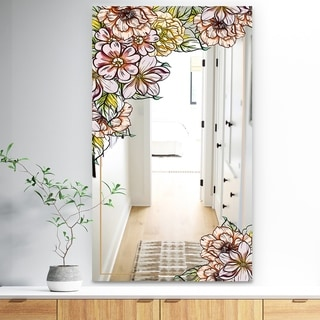 Designart 'Garland Sweet 28' Traditional Mirror - Large Mirror - Pink