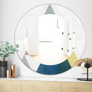 Designart Geometrical Composition Triangles I Modern Mirror - Frameless Oval or Round Wall Mirror - Multi (Round - 31.5 in. wide x 31.5 in. high)