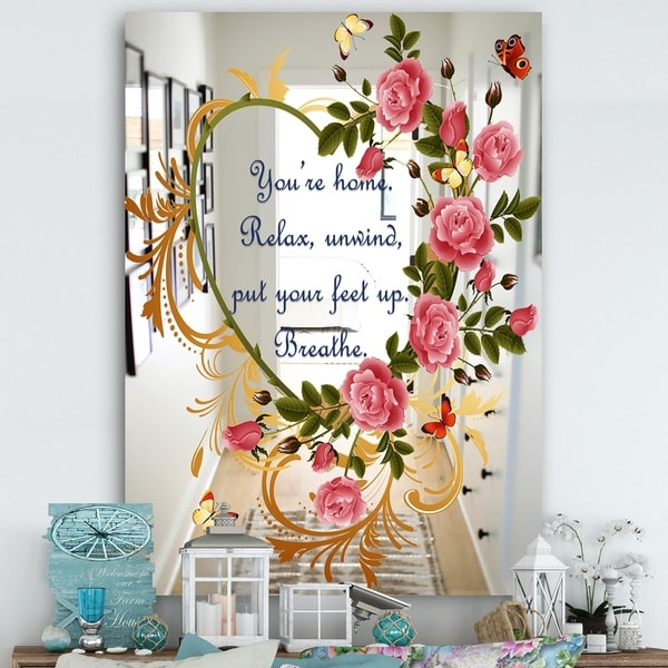 Designart 'You Are Home. Breathe. Flower Heart' Cabin and Lodge Mirror - Large Wall Mirror - Multi