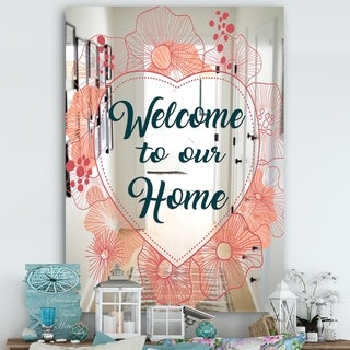 Designart 'Welcome To Our Home. Pink Flower Heart III' Cabin and Lodge Mirror - Large Wall Mirror - Multi
