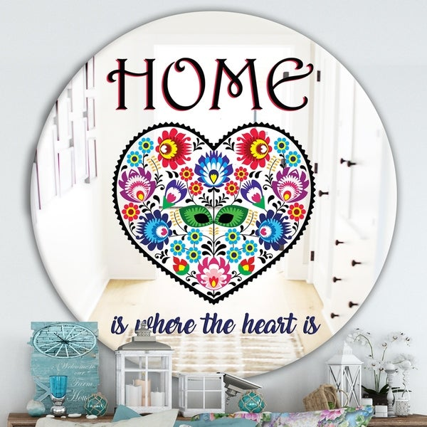 Designart 'Home Is Where The Heart Is II' Cabin and Lodge Mirror - Round Wall Mirror - Multi