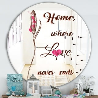 Designart 'Home Where Love Never Ends. II' Cabin and Lodge Mirror - Round Wall Mirror - Multi