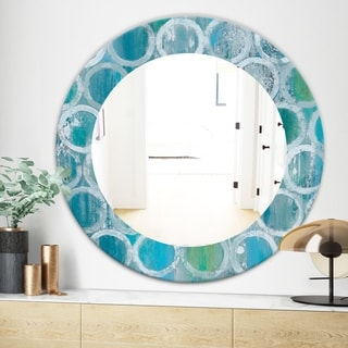 Designart Natural Blue Circle Modern Mirror - Frameless Oval or Round Wall Mirror (31.5 in. wide x 31.5 in. high - Round)