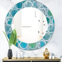 Designart 'Natural Blue Circle' Modern Mirror - Frameless Oval or Round Wall Mirror