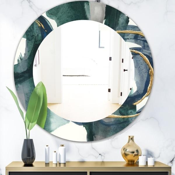 Designart 'Mettalic Indigo and Gold III' Glam Wall Mirror - Frameless Oval or Round Wall Mirror - Blue