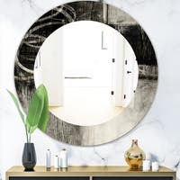 Designart 'A Geometric Day I' Mid-Century Mirror - Frameless Oval or Round Wall Mirror - Black