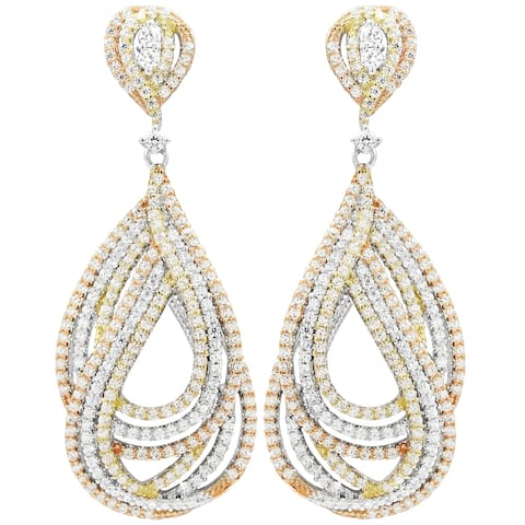 Luxiro Sterling Silver Tri-color Finish Cubic Zirconia Dangling Earrings